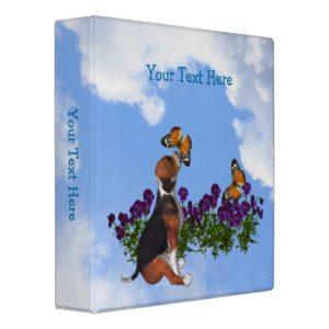 Beagle Butterflies Pansies Animal Binder