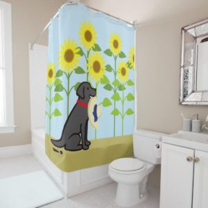 Black Labrador and Sunflowers Summer Shower Curtain