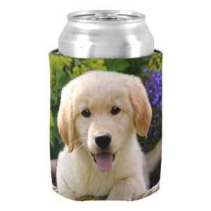 Charming Goldie Retriever Dog Puppy, Funny Bawdle Can Cooler