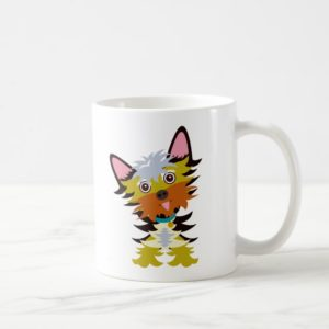 Colorful Yorkshire Terrier Head Tilt Cartoon Coffee Mug