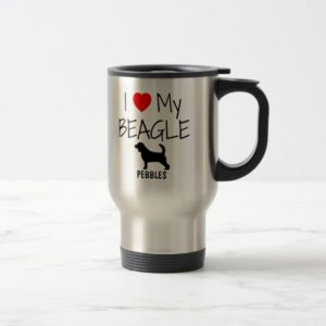 Custom I Love My Beagle Travel Mug