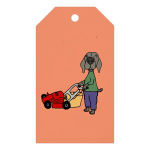 Funny Weimaraner Dog Mowing Lawn Art Gift Tags