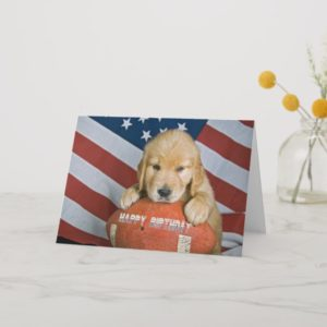 Golden Retriever and Football Birthday Card