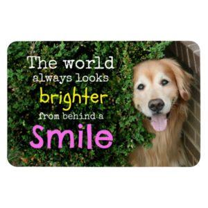 Golden Retriever Behind A Smile Magnet