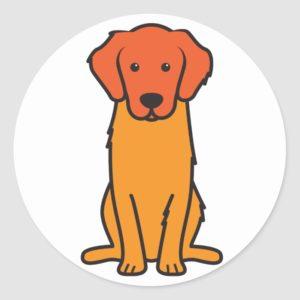Golden Retriever Dog Cartoon Classic Round Sticker