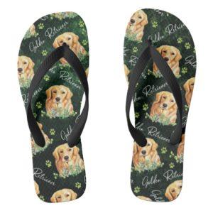 Golden Retriever Dog, Eucalyptus Leaves, Paw Print Flip Flops