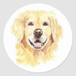 Golden Retriever Dog Pet Animal watercolor Classic Round Sticker