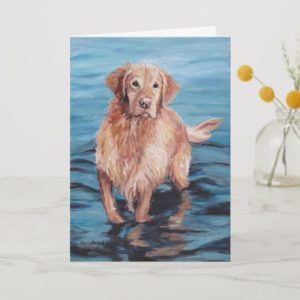 Golden Retriever in Water Dog Art Greeting Card