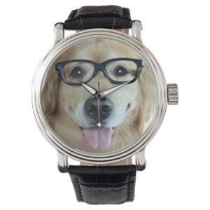 Golden Retriever With Nerd Glasses Wrist Watch