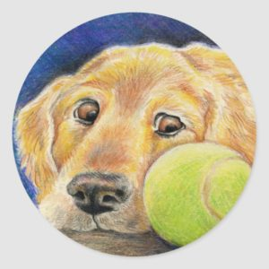 Golden Retriever with Tennis Ball Classic Round Sticker