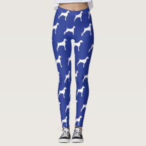 GRAPHIC WEIMARANER SILHOUETTE WHITE & BLUE LEGGING