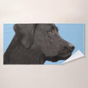Labrador Retriever Black Painting Original Dog Art Bath Towel Set