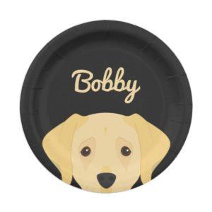 Labrador Retriever Dog Portrait Paper Plate
