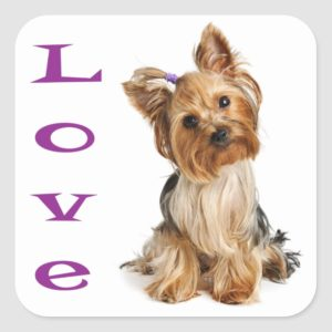 Love Yorkshire Terrier Puppy Dog Sticker / Seals