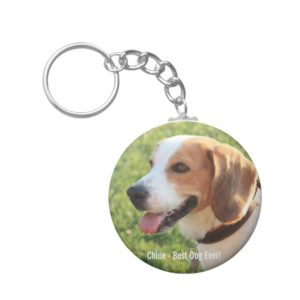 Personalized Beagle Dog Photo and Dog Name Keychain