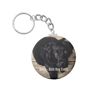 Personalized Black Lab Dog Photo and Dog Name Keychain