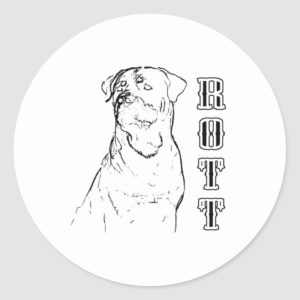 Rottweiler Line Drawing Classic Round Sticker