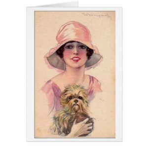 Vintage Lady in Pink with Dog,