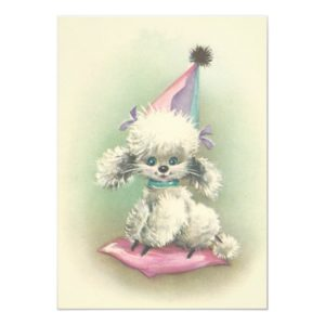 Vintage Party Poodle Birthday Invitation