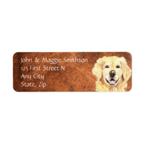 watercolor Golden Retriever Dog Address Label