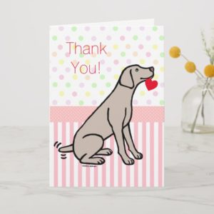Weimaraner and Heart Thank You Card