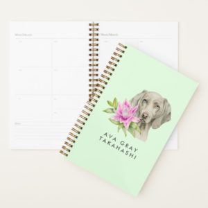 Weimaraner Dog and Lily | Add Your Name Planner