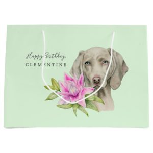 Weimaraner Dog and Lily Watercolor | Birthday Large Gift Bag