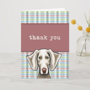 Weimaraner Pale Plaid Thank You