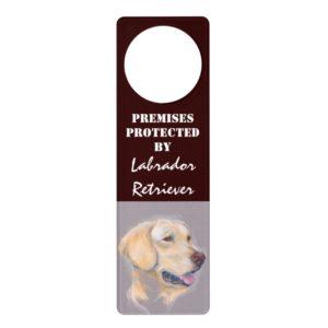 Yellow Labrador Retriever Portrait Door Hanger