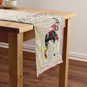 Adorable Boston Terrier Short Table Runner