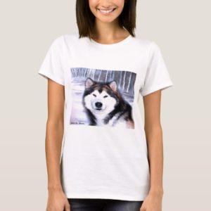 Alaskan Malamute Design by Artist SteJhourre T-Shirt
