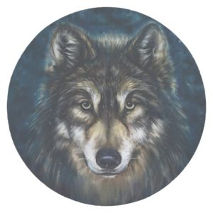 Artistic Wolf Face Round Paper Coaster