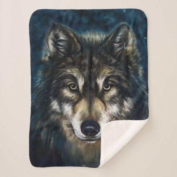 Artistic Wolf Face Small Sherpa Fleece Blanket