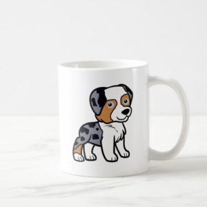 aussie blue merle cartoon coffee mug