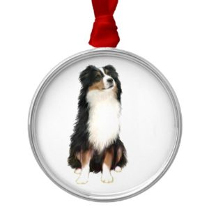 AUSTRALIAN SHEPHERD (A) - Tri Color Metal Ornament
