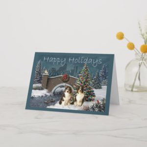 Australian Shepherd Christmas Card Evening
