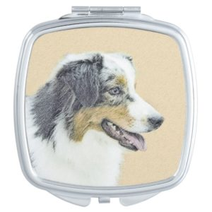 Australian Shepherd Painting - Original Dog Art Vanity Mirror