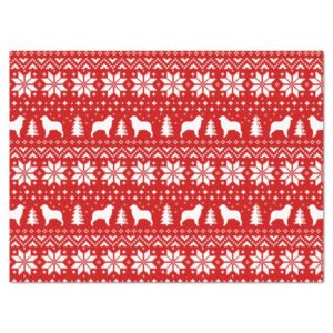 Australian Shepherd Silhouettes Christmas Pattern Tissue Paper