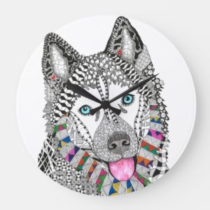 Beautiful and Colorful Siberian Husky Clock