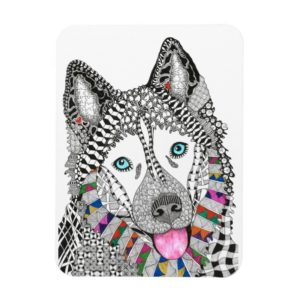 "Beautiful and Colorful Siberian Husky Magnet 3""x4"""