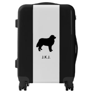 Bernese Mountain Dog Silhouette with Custom Text Luggage