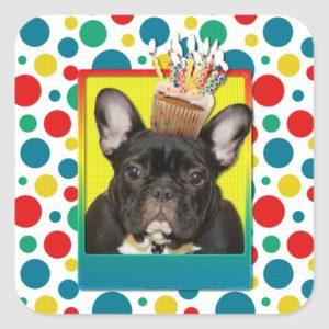 Birthday Cupcake - French Bulldog - Teal Square Sticker