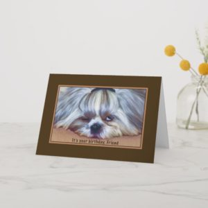 Birthday, Friend, Sleepy Shih Tzu Dog Card