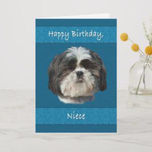 Birthday,  Niece, Shih Tzu Dog Card