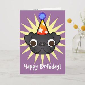 Birthday Pug (black) Card