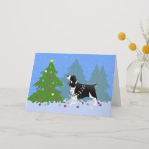 Black Springer Spaniel Decorating Christmas Tree Holiday Card