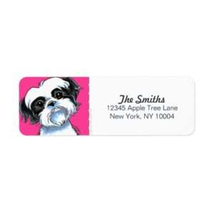 Black White Shih Tzu Hot Pink Block Label
