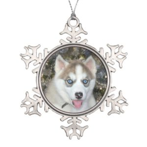 Blue eyed Siberian Husky Christmas Snowflake Pewter Christmas Ornament
