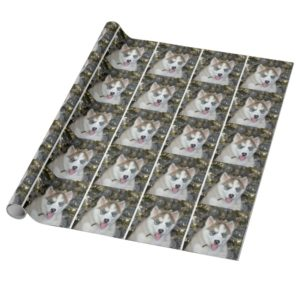 Blue eyed Siberian Husky Christmas Wrapping Paper