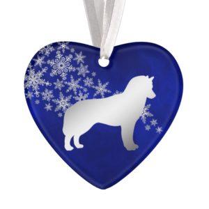 Blue Silver Snowflake Siberian Husky Ornament